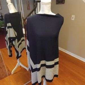 Blue and grey ponchos